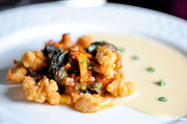 Fricassee of Snail with Crispy Sweet Breads, Mirepoix, Chanterelle ...